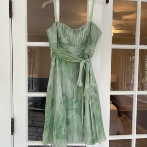 bcbgmaxazria green chiffon strapless dress